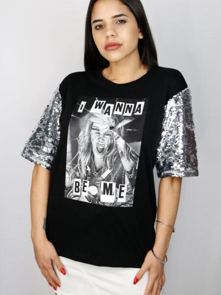 Shop Art T-shirt con paillettes A