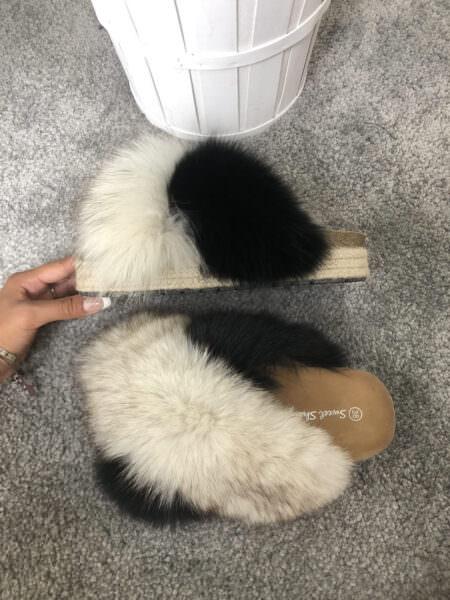 Pantofola vera pelliccia ad intreccio - CARMEN